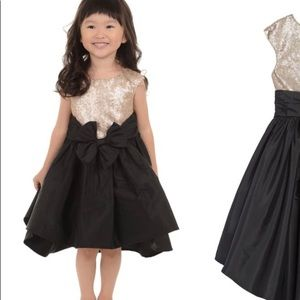 2T Gold sequin and black high/low dress